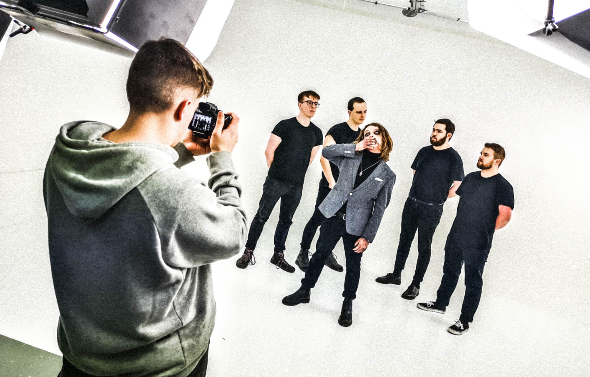 band in big browndoors studio leeds being shot